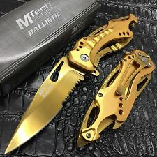 M-Tech Spring Assisted ALL GOLD TI-Coated Aluminum Tactical Rescue Pocket Knife!
