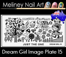 Dream Girl 15 Stamping Nail Art Image Plate Design Rectangle XL Stencil metal