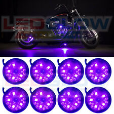LEDGLOW 8PC PURPLE COLOR LED POD MOTORCYCLE ACCENT LIGHTS NEON LIGHTING KIT
