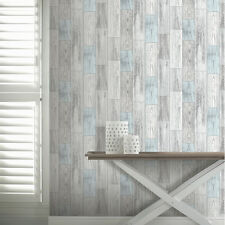 Salcombe Light Grey and Blue Wood Panel Wallpaper by Arthouse 693200