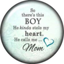 Snap button Boy calls me Mom 18mm Cabochon chunk charm