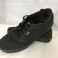Vans Off The Wall Black On Black Authentic Men's 9 Women's 11 Canvas Shoes EUC