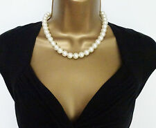 "Fab 17"" Chunky Pearl Look Bead Rope Necklace Dangle Drop Earring Jewellery Set"