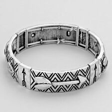 Antique Silver and Black Arrow Stretch Bracelet