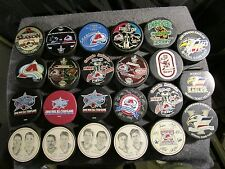 COLORADO AVALANCHE HOCKEY PUCK LOT PLAYOFFS STANLEY CUP MINOR LEAGUE L@@K! X24