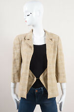 Chanel 03P NWT $2010 Beige Linen Faux Pearl 'CC' Button Jacket SZ 40