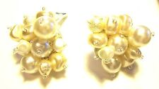 CHICO'S Earrings signed big off white faux pearl w/ small crystals clip on NEW