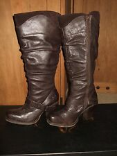 vogue knee high leather boots giddy up pony dk brown 6.5m $238 suede buckle acce