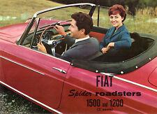 Fiat 1200 & 1500 Spider Roadster 1959-60 USA Market Sales Brochure Cabriolet