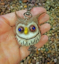 Needle Felted Weird Crazy Owl Key ring Bag Charm  funny gift