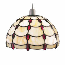 *SALE PRICE* TIFFANY Stained-Glass RED JEWEL Pendant Shade JUL10P1