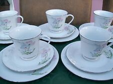 Five Fine Quality Porcelain Trios - 5 Cups, 5 Saucers & 5 Side Plates - Unused