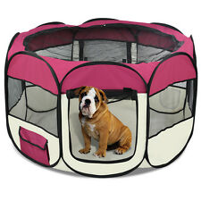 """48"""" Burgundy Pet Dog Cat Playpen Tent Portable Fence Kennel Exercise Cage Crate"""