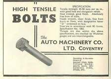 1953 Auto Machinery Coventry High Tensile Bolts Ad