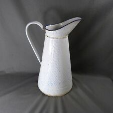 Antique Vintage French Enameled Tall Water Pitcher Jug Pitcher White marble Blue