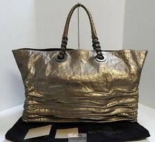 Bottega Veneta Italy Bronze Crackle Leather East West Chain Tote Bag