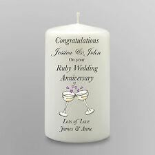 Personalised Ruby Wedding Anniversary Candle 40th Gift Keepsake