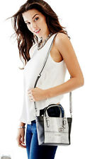Guess Delaney Crossbody mini Tote purse Handbag Python Print Colorblock Black