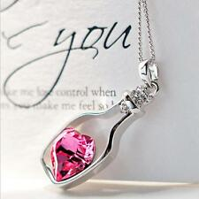 Valentine Birthday Gift Love Drift Bottle Pendant Rose Heart Crystal Necklace