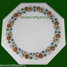 2' Marble Table Top White Inlay Pietra dura Handicraft Home Decors and Gifts