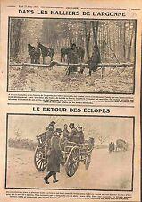 Poilus Bataille Champagne Bois de la Grurie Argonne Artillerie Eclopés WWI 1915