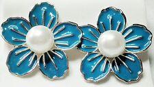 Large Blue Enamel Effect Faux Pearl Silver Tone Stud Earrings 3cm   (on Posts )