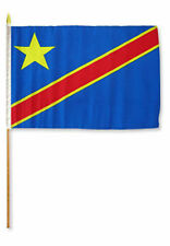 "12x18 12""x18""  Congo Democratic Republic Stick Flag wood 30 inch staff"