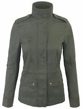Fashion Womens Zip Up Military Anorak Safari Jacket with Pockets Coat-317