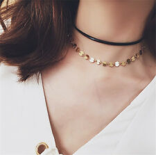 1 Pc Dual-layer Short Choker Necklace Sequins Collar Fashion Jewelry Accessories