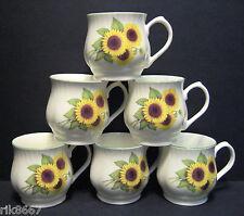 Set of 6 Sunflower Bulbous English Fine Bone China Mugs By Milton China