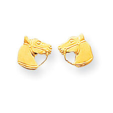 14K Yellow Gold Small Horse Head Stud Earrings Push Back Madi K Child's Jewelry