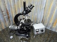 Vintage Carl Zeiss Trinocular Microscope w/3 Objectives & Wild Transformer