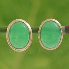 14k Solid Yellow Gold Bezel Setting Oval Cabochon Green Jade Stud Earrings TPJ