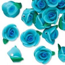 4159 Polyclay Rose Beads Blue 12mm PK6 *UK EBAY SHOP*