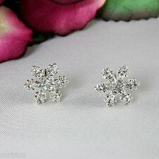 E9 Small Silver Tone Rhinestone Crystal Snowflake Stud Earrings