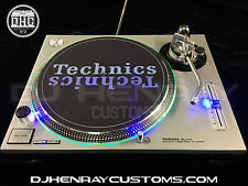2 custom silver Technics SL 1200 mk2's w blue led's & green halos