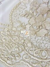 FLORAL PRINCESS MESH LACE FABRIC - Champagne - BY THE YARD DRESS DECOR BRIDAL