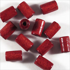 Lot de 50 Perles en Bois Tubes 6 x 10 mm Rouge Bordeaux