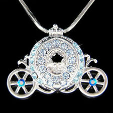 w Swarovski Crystal ~Blue Princess Cinderella Pumpkin Carriage~ Pendant Necklace