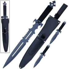 Ninja Sword Set Dark Knight Warrior & 2 Throwing Knives w Sheath Shoulder Strap