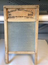 Vintage National Laundry Washboard No. 860 w/ Glass Primitive Home Antique