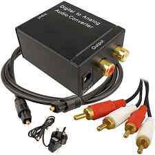Digital Optical to Analog R/L Audio Converter Adapter + Free Toslink & RCA Cable