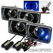 (2 Sets) 4x6 Blue LED Black Housing Projector Headlights/10000K H4-2 HID Kit