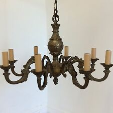 Antique Style French 8 Arm Brass Chandelier