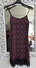 Topshop Black And Pink Ditsy Floral Lace Trim Slip Plisse Dress, UK Size 10 New