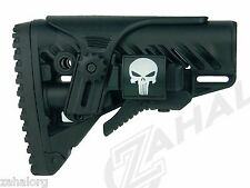 GLR-16 FAB Defense BLACK Stock w/ PICATINNY Rail Cheek Piece + FREE Punisher CGR
