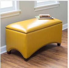 Leather Storage Bench Seat Bedroom Ottoman Upholstered Entryway YELLOW Mustard