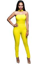 Abito tuta aperto Nudo scollo ballo aderente Collare Zip Choker Jumpsuit Dress M