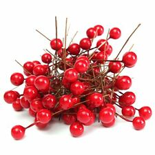 100X 8mm Artificial Christmas Red Holly Berry Xmas Tree Hanging Decor Ornament