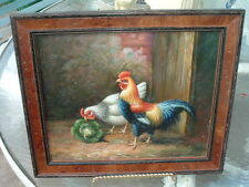 Hand Painted Oil Painting of Chickens and Cabbage in Walnut Frame, Beautiful